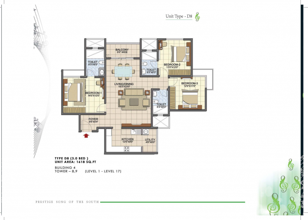 Prestige Song of the South 3 BHK D8 1614 Sft