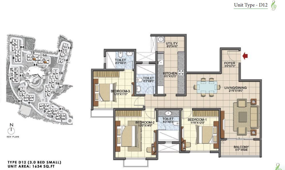 Prestige Song of the South 3 BHK 1634 sft