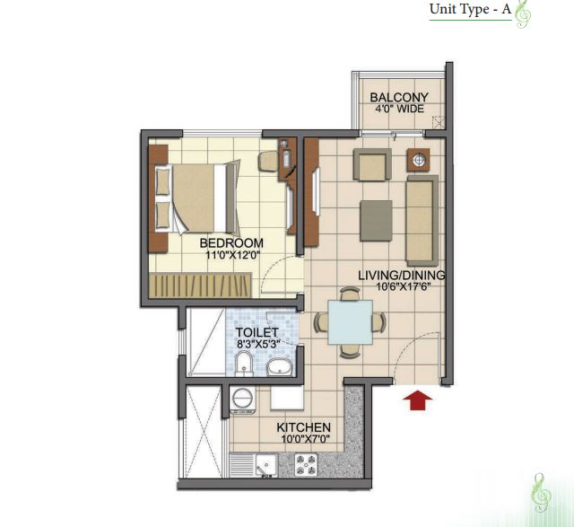 Prestige Song of the South 1 BHK Type 1