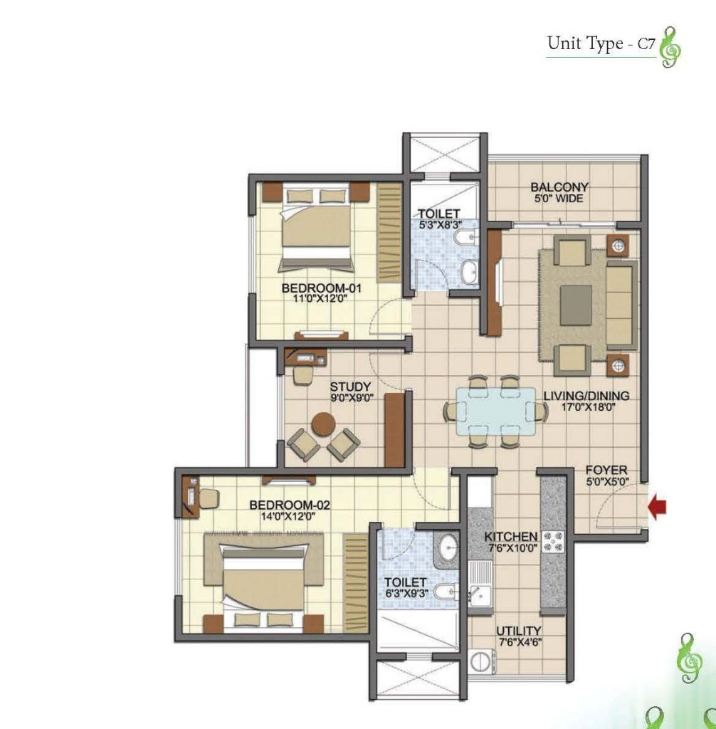 Prestige Song of the South 2.5 BHK 1375 Sft