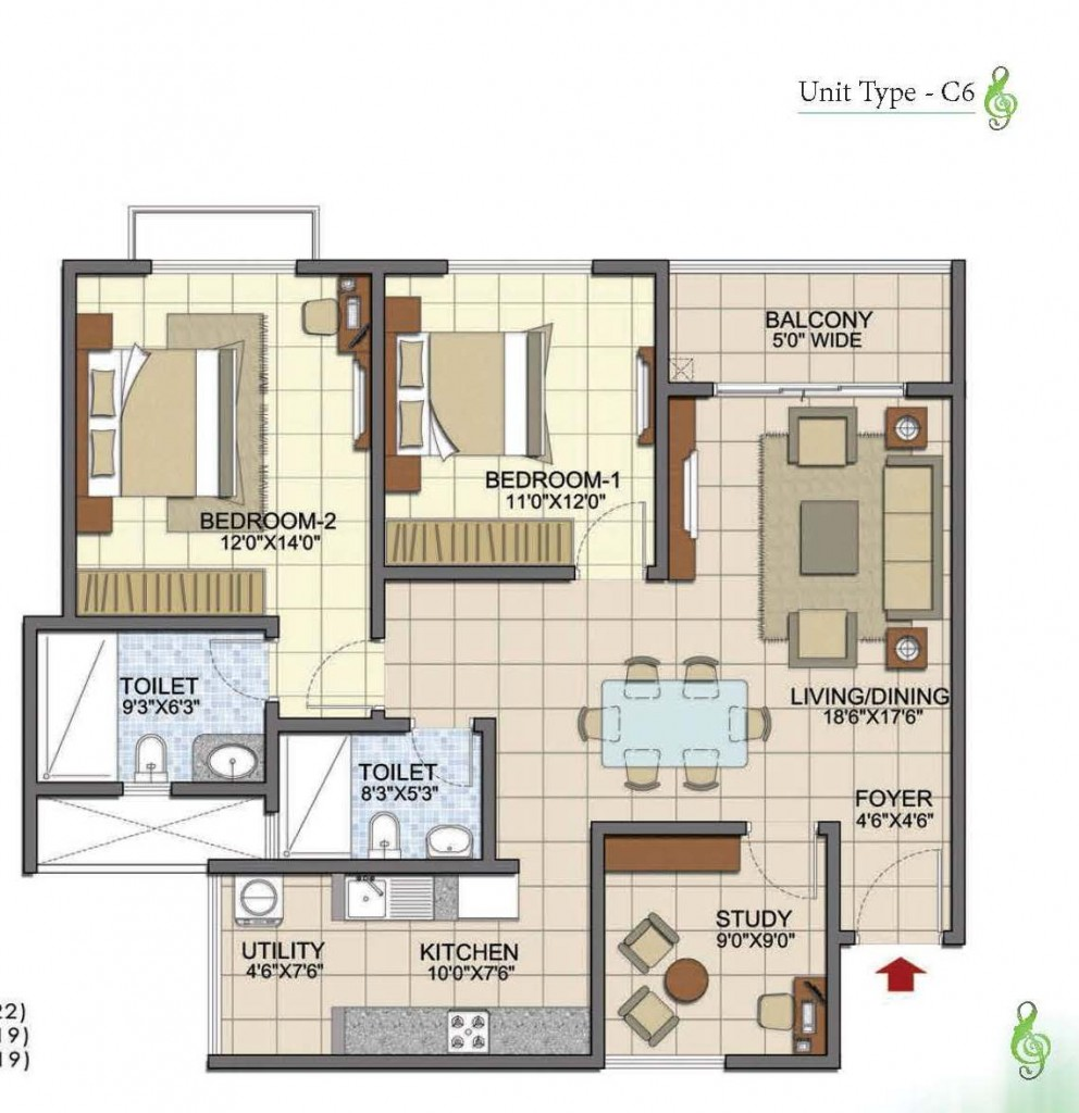 Prestige Song of the South 2.5 BHK type c6 1374 Sft